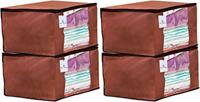 Heart Home 4 Piece Non Woven Fabric Saree Cover Set with Transparent Window, Extra Large, Dark Brown CTHH14115