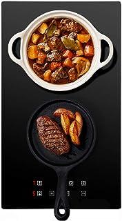 Double plaque de cuisson vitrocéramique, 1800+1200 W, 9 niveaux de puissance, Minuterie, Tous types d'ustensiles, Contôle ...