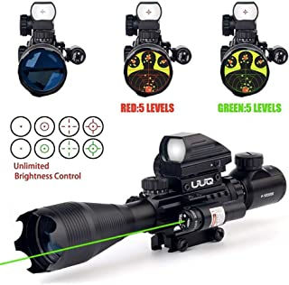 UUQ 4-16x50EG Tactical Rifle Scope Red/Green Illuminated Range Finder Reticle with Green Laser and Multi Optical Coated Holographic Dot Sight