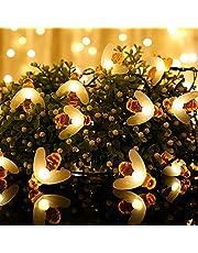 Vegena Lichtsnoer op zonne-energie, voor buiten, warmwit, 7 m, 50 leds, 8 modi, IP65 waterdicht, voor tuin, bomen, terras, binnenplaats, Kerstmis, party, decoratie, energieklasse A+++