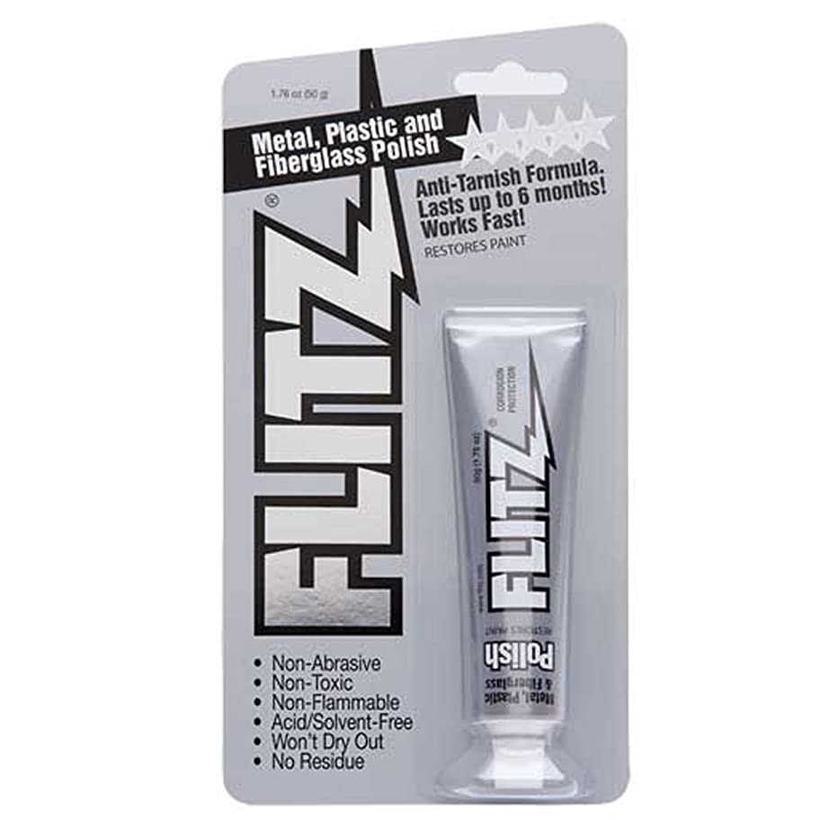 Flitz BP 03511 Metal, Plastic and Fiberglass Polish with Paint Restorer, 1.76-Ounce, Small, White