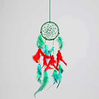 """Red & Green Feather Dream Catcher Catchers Hanging (Circle Diameter: 3 """" / 7.5CM Length:-12""""/ 30CM) for , Bedroom, Window,..."""