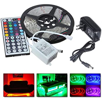 Color Changing Strips | RGB 5050 LEDs Color Changing Kit with 44 Key Remote Waterproof Flexible Tape LED Strip Lights for Bedroom (from US, Colorful)