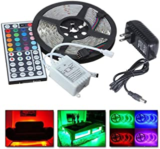 Redgiants 5M RGB 5050 Non Waterproof LED Strip Light SMD 44 Key Remote 12V Power