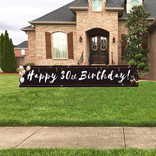 Large 30th Birthday Banner, Black Happy 30th Birthday Banner Sign, Outdoor Yard Lawn 30th Birthday Party Decorations Supplies (9.8x1.6feet)