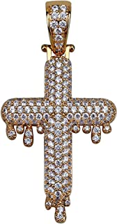 Unisex Hip Hop Micropave Simulated Diamond Iced Out Bling Dripping Cross CZ Pendant Necklace for Men Women