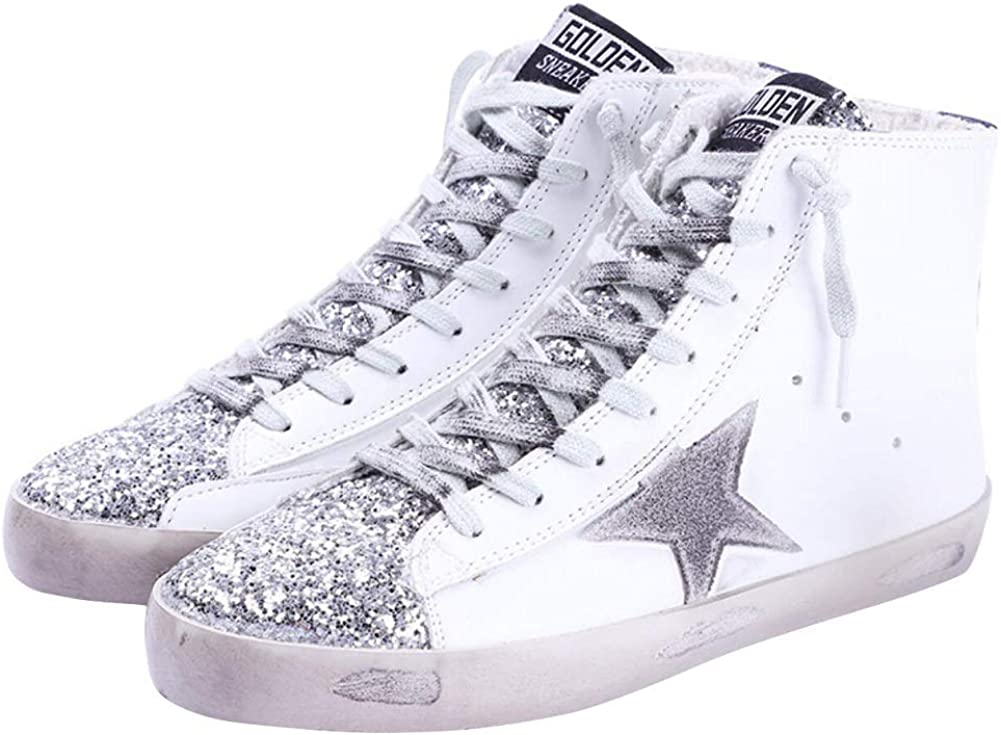 Women's High Top Fashion Flat Sneakers Distressed Design Lace up Star Glitter Shoes