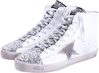 FENIKUSU Women's Flat Sneakers High Top Glitter Fashion Star Lace up Casual Shoes Wide Width