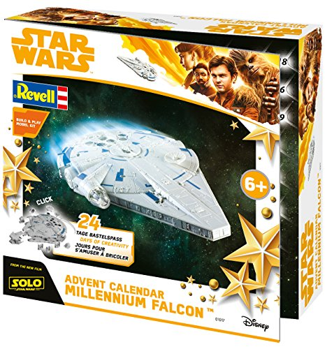 Revell Build&Play 01017 - Adventskalender Millennium Falcon, Star Wars, Disney Solo - 24 dagen cool knutselplezier, bouwpakket met het steeksysteem voor kinderen vanaf 6 jaar, bouwen en spelen