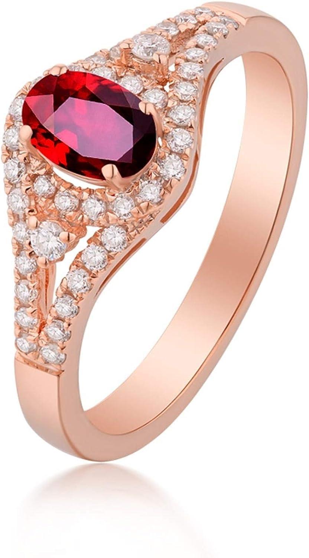 Epinki Women 18K Rose Gold Elegant 0.61ct Ruby Ring Engagem Oval Selling All items free shipping