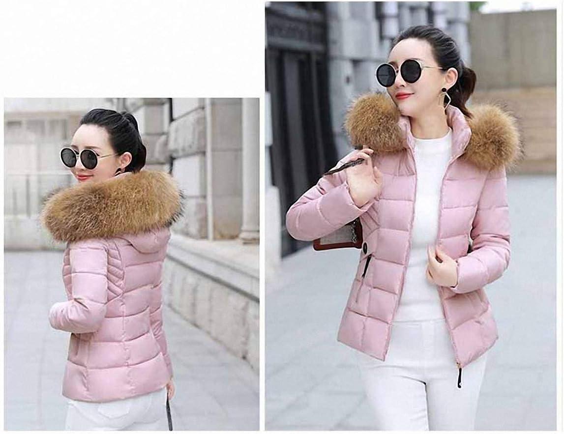 Coat Fur Collar Hooded Parkas Short Down Cotton Jacket Slim Warm Jacket Women Clothing Pink 1 XXL