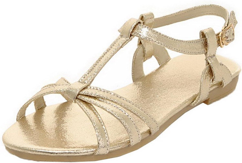 WeiPoot Women's Buckle Pu Low-Heels Solid Open-Toe Sandals, EGHLG004900