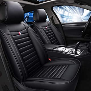 God of Wealth Edition Leather All-Inclusive Four Seasons seat Cover seat Cushion 5 Seats Full Set of Universal fit. (Black)