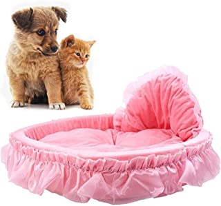 GT Lace Princess Pet Dog and Cat Bed, Small Dogs Self Warming Indoor Puppy Princess Bows Lace Heart Elegant Lovely Bed Dog...