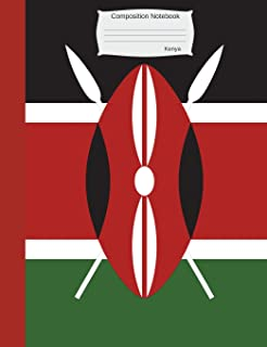Composition Notebook Kenya: Wide Ruled lined Pages Kenyan Flag Book to write in for school, take notes, for kids, students, teachers, homeschool