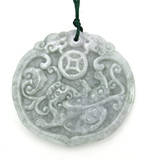 Jadeite Jade Fortune Dragon Pixiu Amulet Pendant