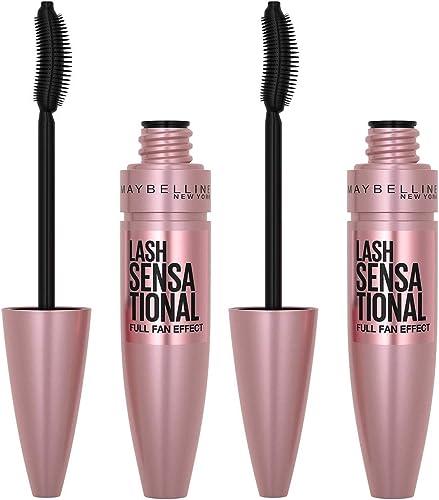 Maybelline Lash Sensational Washable Mascara Makeup, Volumizing, Lengthening, Full-Fan Effect, Blackest Black, 0.32 F...