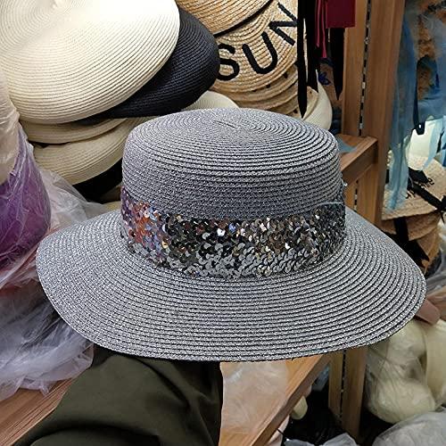 Roshow Sombrero de Paja Playa de Mujer Protector Solar Europa y los Estados Unidos con Lentejuelas con Lentejuelas Sombra de un Nuevo Sombrero Coreano con Las Vacaciones en el mar-Plata_M (56-58cm)