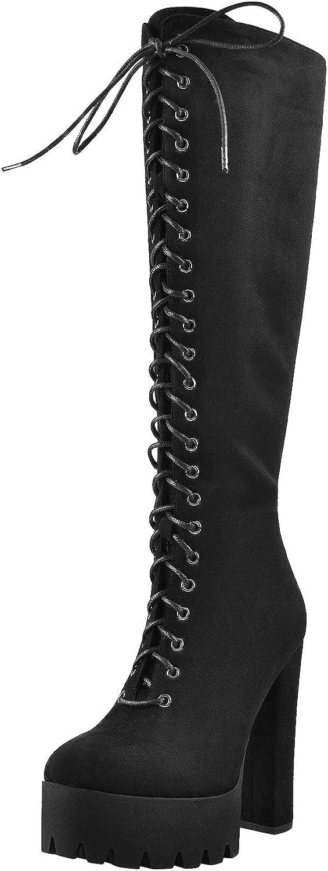 LISHAN Women's Platform Lace Up Knee High Boots