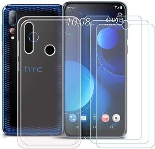 YZKJ Skal för HTC Desire 19s Cover Trasparent silikon skyddsskal TPU skal Case + 3 stycken pansarglas skärmskydd skyddsfol...