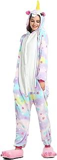 Niños Unicornio de Dibujos Animados de Franela Animal Novedad Disfraces Cosplay Pijama (Estrella Adulta, S:148-160CM)