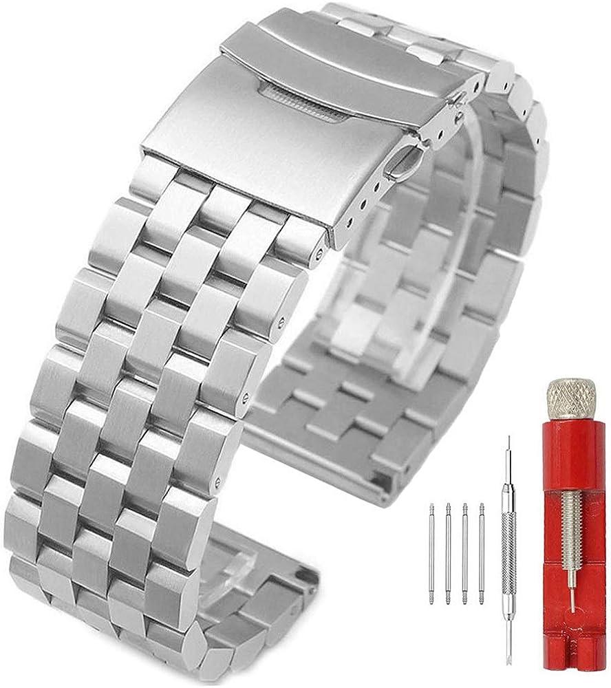 Correa de reloj de acero inoxidable mate de 5 filas de doble bloqueo, banda de metal de repuesto para hombres y mujeres, 18 mm, 20 mm, 22 mm, 24 mm, 26 mm, negro, plata y azul