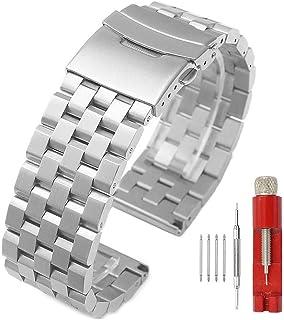Bracelet de Montre de Rechange en Acier Inoxydable Matte 5 Rangées avec Double Verrouillage Unisexe - 18 mm 20 mm 22 mm 24...