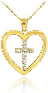 Dainty 10k Yellow Gold Diamond Cross in Open Heart Pendant Necklace