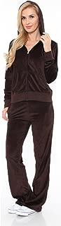 White Mark Women's Athletic Soft Velour Zip Up Hoodie & Sweat Pants Set Jogging Suit