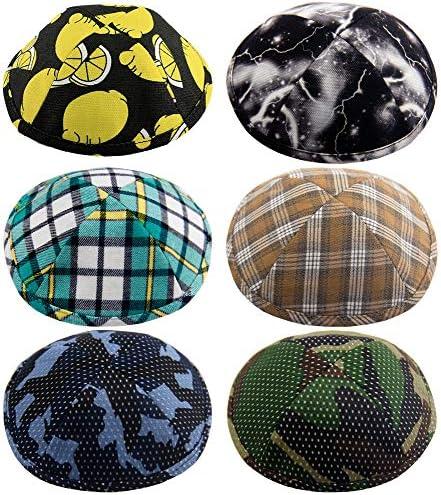 Pack of 6 Pcs Hq 19cm Mix Colors Kippah for Boys and Kids Yamaka Hat from Israel Kippot Bulk product image