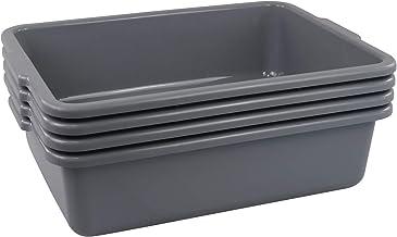 "6 Pcs 20x15x7/"" Polyethylene Plastic Food Bus Tub Dish Box Stackable Storage Gray"