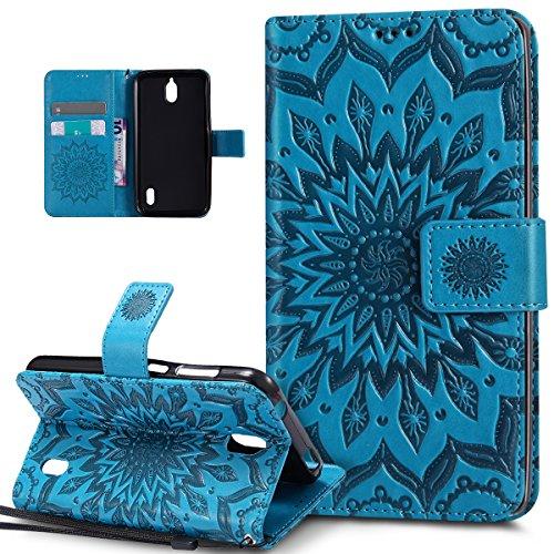 Kompatibel mit Huawei Y625 Hülle,Huawei Y625 Schutzhülle,Prägung Mandala Blumen Sonnenblume PU Lederhülle Flip Hülle Cover Schale Ständer Etui Wallet Tasche Hülle Schutzhülle für Huawei Y625,Blau