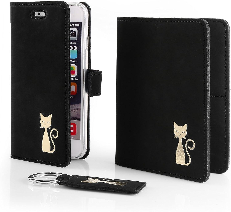 SURAZO Gold Katze - Leder Geschenkset Handy Handy Handy Schutzhülle, Geldbörse, Schlüsselring - Farbe Schwarz Vintage Kollektion für Samsung Galaxy A3 2017 (A320) B07CZLBV7X bb10a9