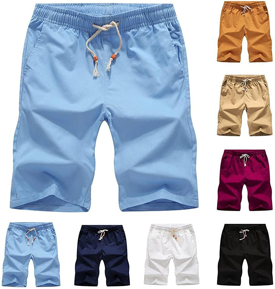 NP Men's Summer Shorts Casual Men Summer Shorts Color Fifth Pants Beach Shorts Male
