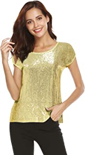 4a560e56f8706 Women Sequin Tops Glitter Shimmer Tunic Loose Bat Sleeve Sparkle T-Shirt  Blouses Cocktail Party