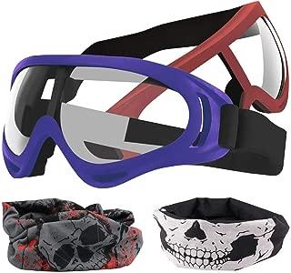 POKONBOY 2-Pack Adjustable Blaster Face Masks Compatible with Nerf Guns N-Strike Elite Series (2 Vision Glasses, 2 Face Tubes ) (Red+Blue)