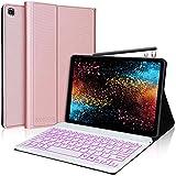 IVEOPPE Funda con Teclado para Samsung Galaxy Tab S6 Lite 2020 10.4'', Teclado Bluetooth 7 Colores Retroiluminada Español Ñ para Tab S6 Lite P610/P615, Funda Protectora para Tableta, Oro Rosa