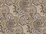 Dekostoff Vorhangstoff Samt Ornamente Paisley Muster beige