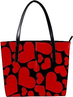 LORVIES - Borsa a tracolla in pelle sintetica con cuore rosso su sfondo nero e borsa a mano