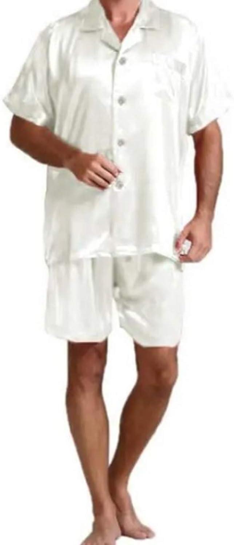 Men's Short Pajamas Set for Men 2pc Sleepwear white XXL
