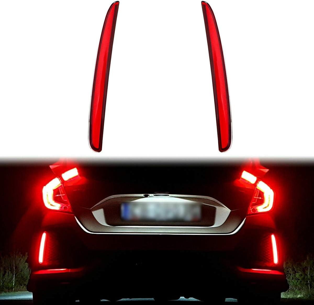 Type-R or SI 4-Door Sedan GTINTHEBOX Red Lens Full LED Bumper Reflector Lights Tail Brake Rear Fog Lamps for 2017-up Honda Civic Hatchback
