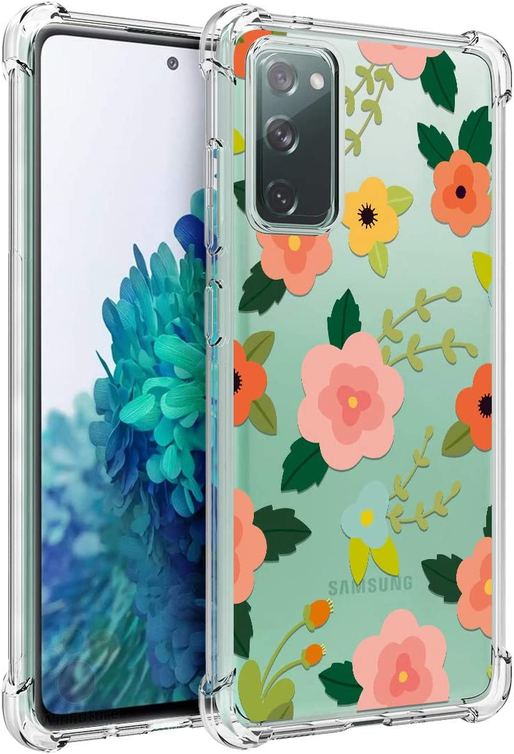 Osophter for GalaxyS20FE5G Case Clear Transparent Reinforced Corners TPU Shock-Absorption Flexible Cell Phone Cover for Samsung GalaxyS20FE5G(Cartoon Flower)
