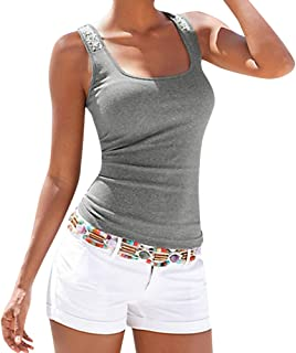 4ca72dadbcb833 Sunhusing Ladies Sequin Embellished Sling Sleeveless Camisole Top Plus Size  Casual T-Shirt