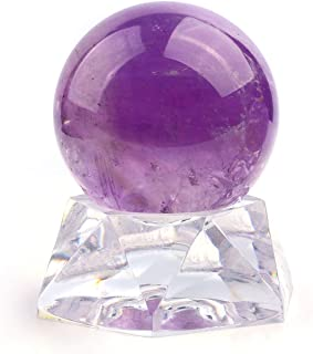 MANIFO Healing Crystal Polished Mineral Ball Sphere Feng Shui Chakra Aura Balance Stone with Acrylic Stand - 35mm Amethyst