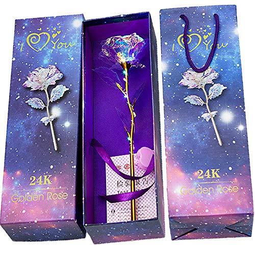 Deer Platz Or Rose Artificielle Eternelle Plaqué Fleur, 24K Plaqué Or Rose, Fleurs Artificielles Rose Lumineux Coloré, pour la Saint Valentin la Fête d'anniversaire la Fête des Mère