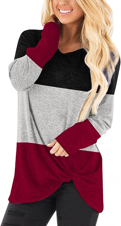 POLLYANNA KEONG Sweatshirts for Women,Women's Long Sleeve Tops Casual Loose Twist Knot Tunics Blouses Tee Shirt