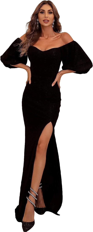 Lin Lin Q Women's Formal Off Shoulder Bishop Sleeve Split Bodycon Evening Cocktail Maxi Dress
