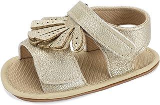 KAKU NANU Baby Girls Sandals Newborn Toddler Shoes Cute Flats First Walkers Shoes 0-6month, 6-12months, 12-18 months