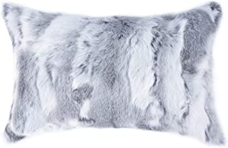 Natural Handcrafted Rabbit Fur Pillow with Polyfil Insert and Zipper Closure, Grey, 12 in x 20 in