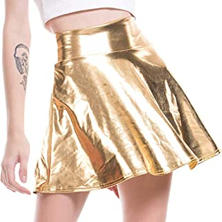 Beishi Women's Solid Colour Shinny Flared Pleated A-Line Mini Skirt for Stage Performance